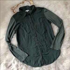 Splendid Green Long Sleeve Button Up Blouse